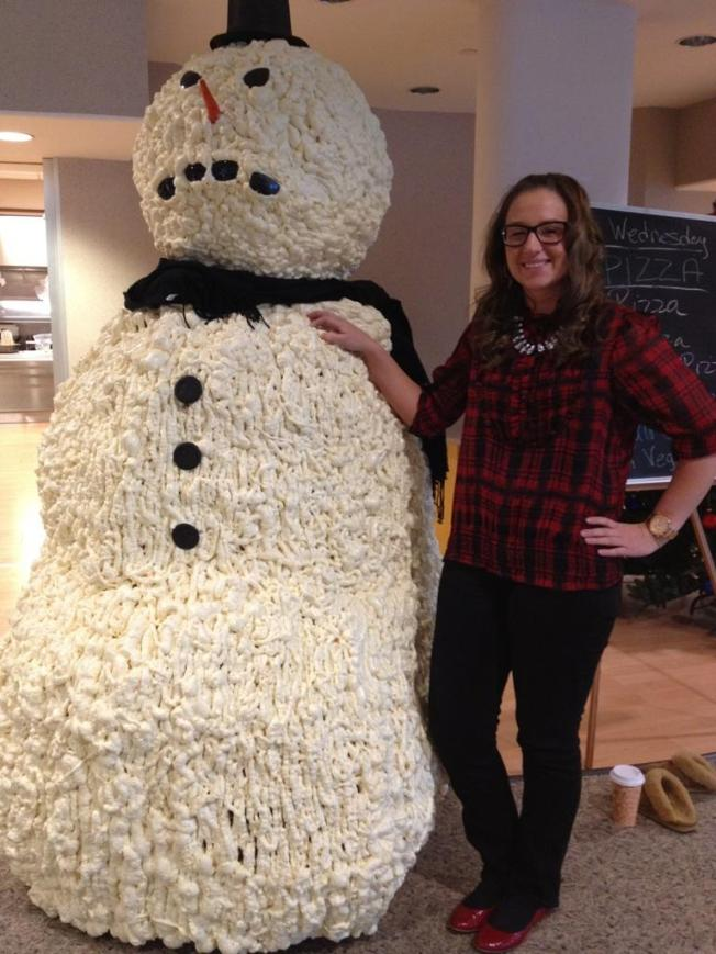 My solo shot with the snowman at work!