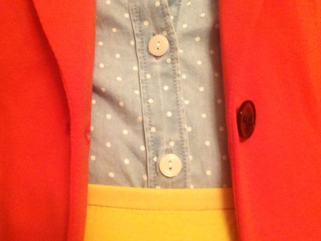 Close up of the shirt.  It's hard to see the polkadot detail in the far-away pics